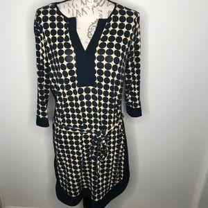 Ann Taylor Blue Yellow Dot Wrap Tie Dress Size M